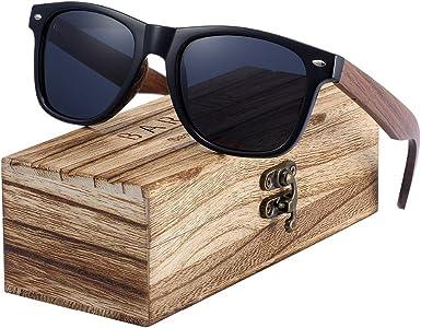 Crystal-heart-store Gafas de sol polarizadas de madera de nogal negro 2019 para hombre, protección UV400, caja original de madera, EVA, polarizadas: Amazon.es: Ropa y accesorios