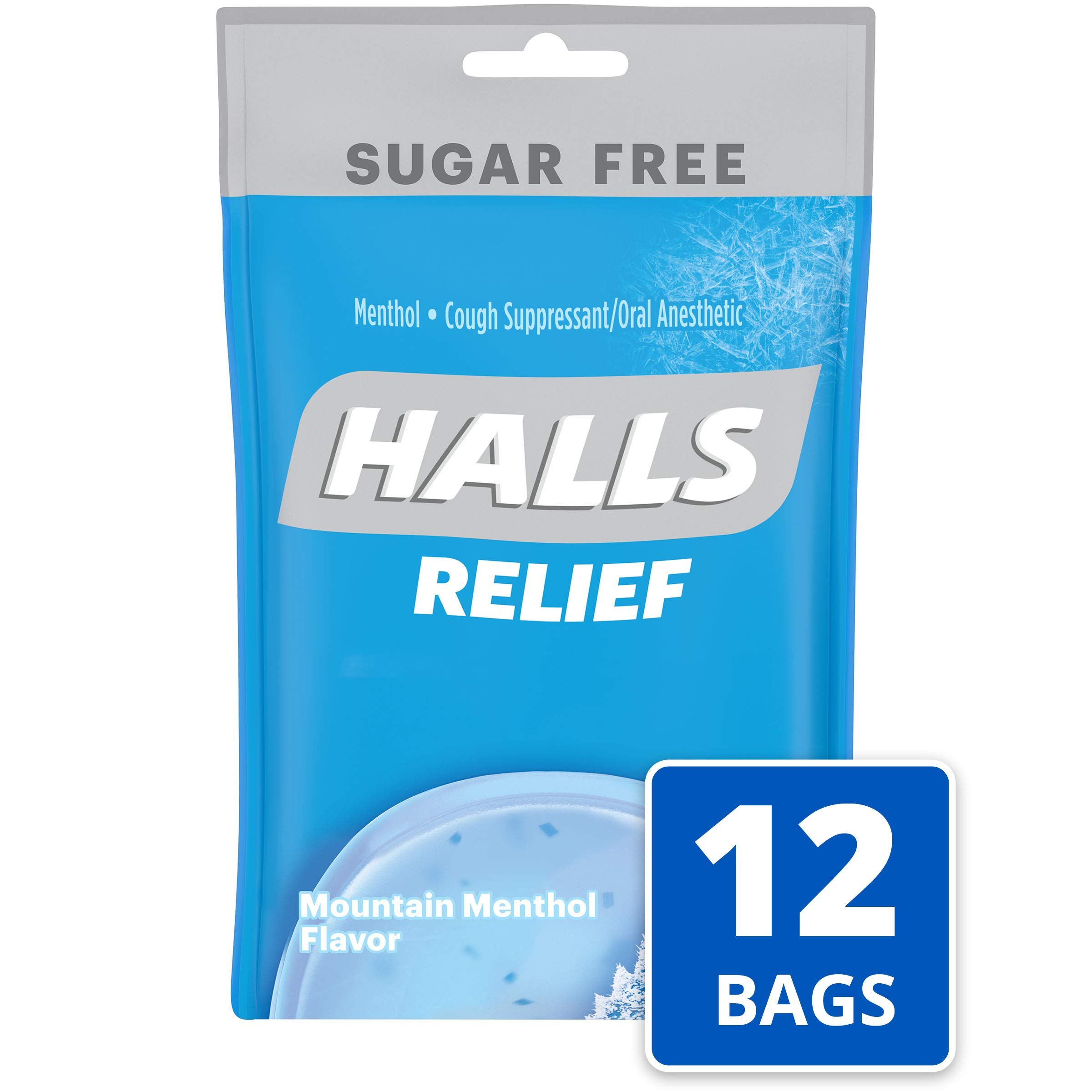 Halls Mountain Menthol Sugar Free Cough Drops - with Menthol - 300 Drops (12 bags of 25 drops) by Halls