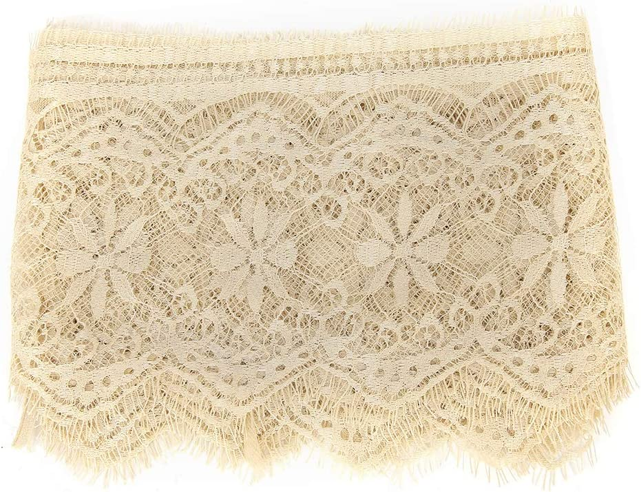 Beige 3Yard Lace Ribbon 5.71inch Width Polyester Silk Clothing Embroidery Lace Classic Long Lace Edge Trim Ribbons DIY Sewing Accessories for Wedding Dress Party Clothes