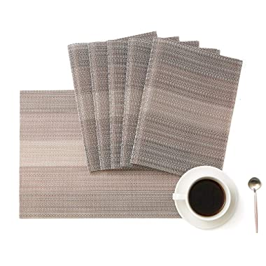 Place Mats Set of 6 Washable PVC Dining Table Mats Non-Slip Heat-Resistant Placemats (Coffee)