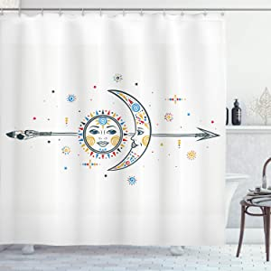 Ambesonne Farm House Decor Shower Curtain, Ethnic Aztec Moon Sun with Spiral Vortex Stars Figures Occult Image, Fabric Bathroom Decor Set with Hooks, 70 Inches, Multi