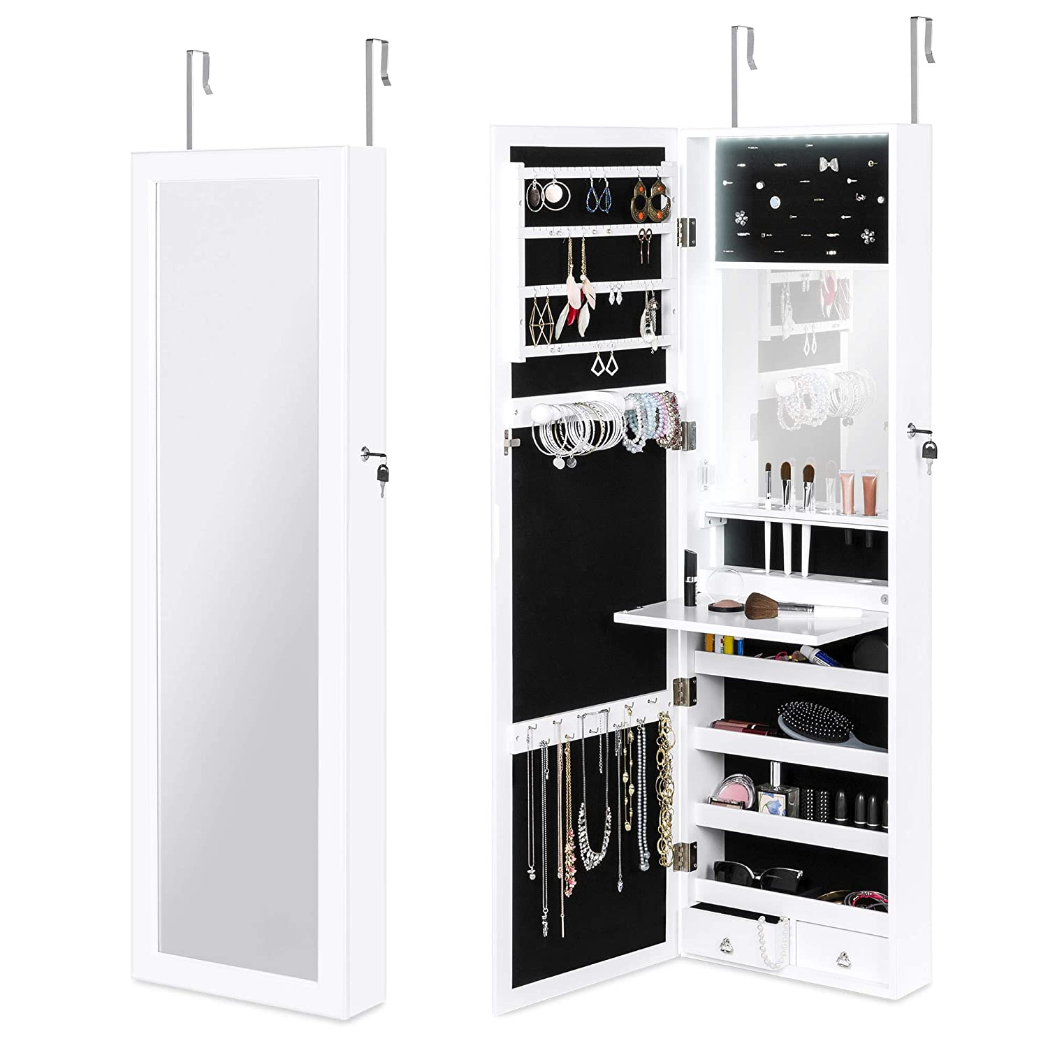 Best Choice Products Hanging Mirror Jewelry Armoire Cabinet for Door or Wall Mount w/LED Lights, Cosmetics Tray, Lock