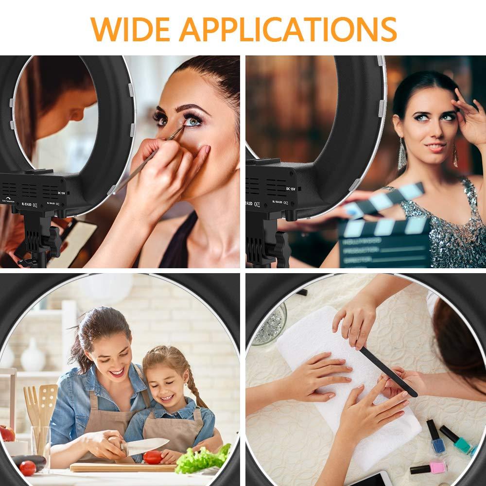 SAMTIAN Anillo de luz,14 Ajustable 3200-5900K Bi-Color Youtube Makeup Light Regulable 384 LED Kit de aro/de/luz con Soporte de luz de 79 Soporte para tel/éfono Remoto para c/ámara Fotograf/ía de Video