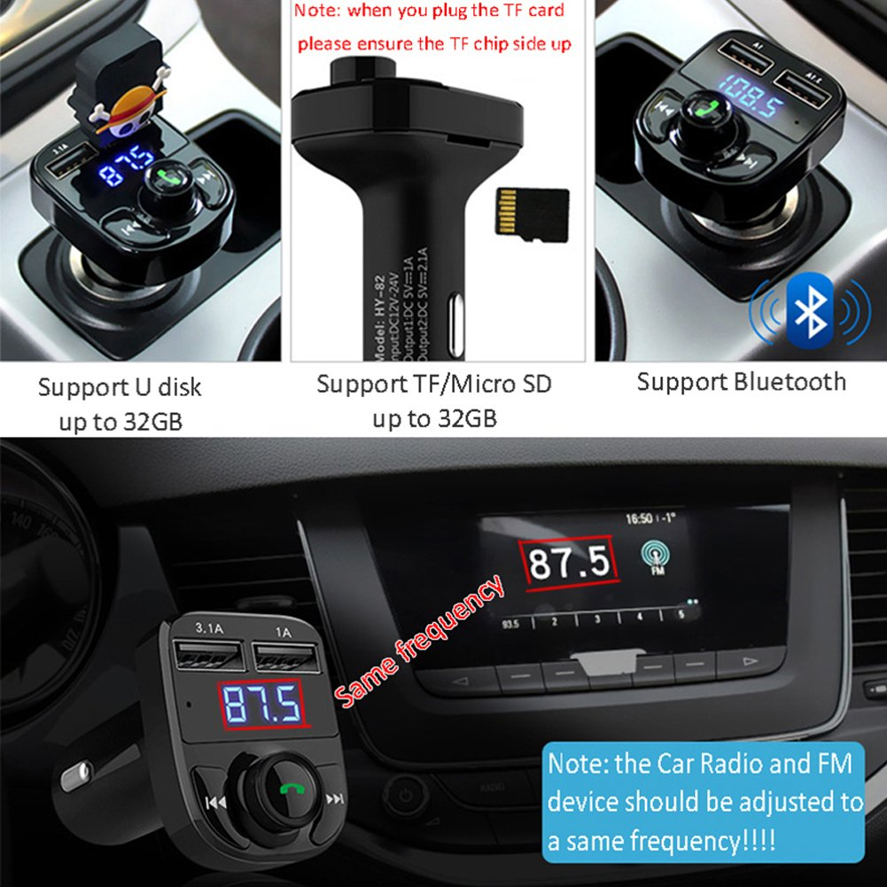 FM Transmitter Wireless Bluetooth FM Transmitter Car Kit Radio Adapter Receiver 4.2A USB Car Charger MP3 Music Player Read Micro SD Card USB Flash Drive and Battery Voltage by JINSERTA (Image #4)