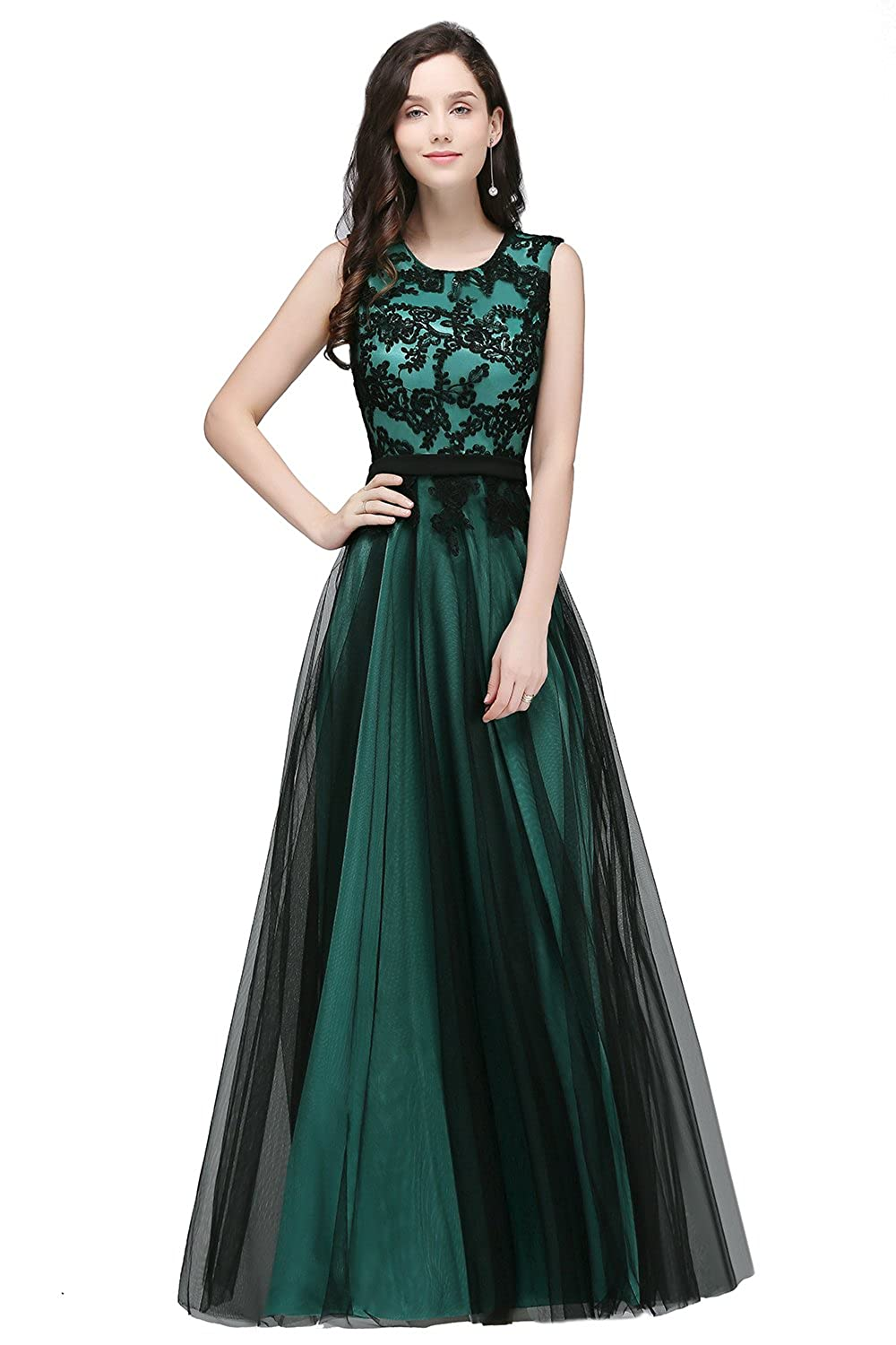 3e2306fe88 MisShow Elegant Tulle Appliques Evening Party Gowns Long Maxi Prom Dresses  at Amazon Women s Clothing store
