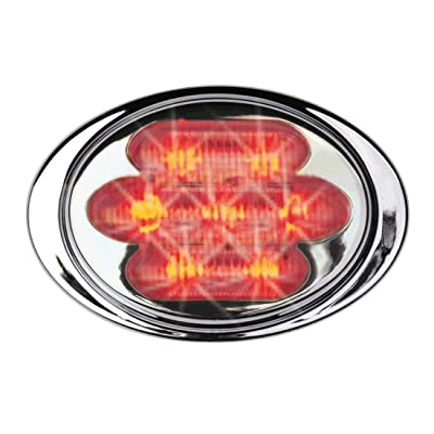 Maxxima M36180R 7 LED Red Mini Oval Clearance Marker Light with Stainless Steel Bezel: Automotive