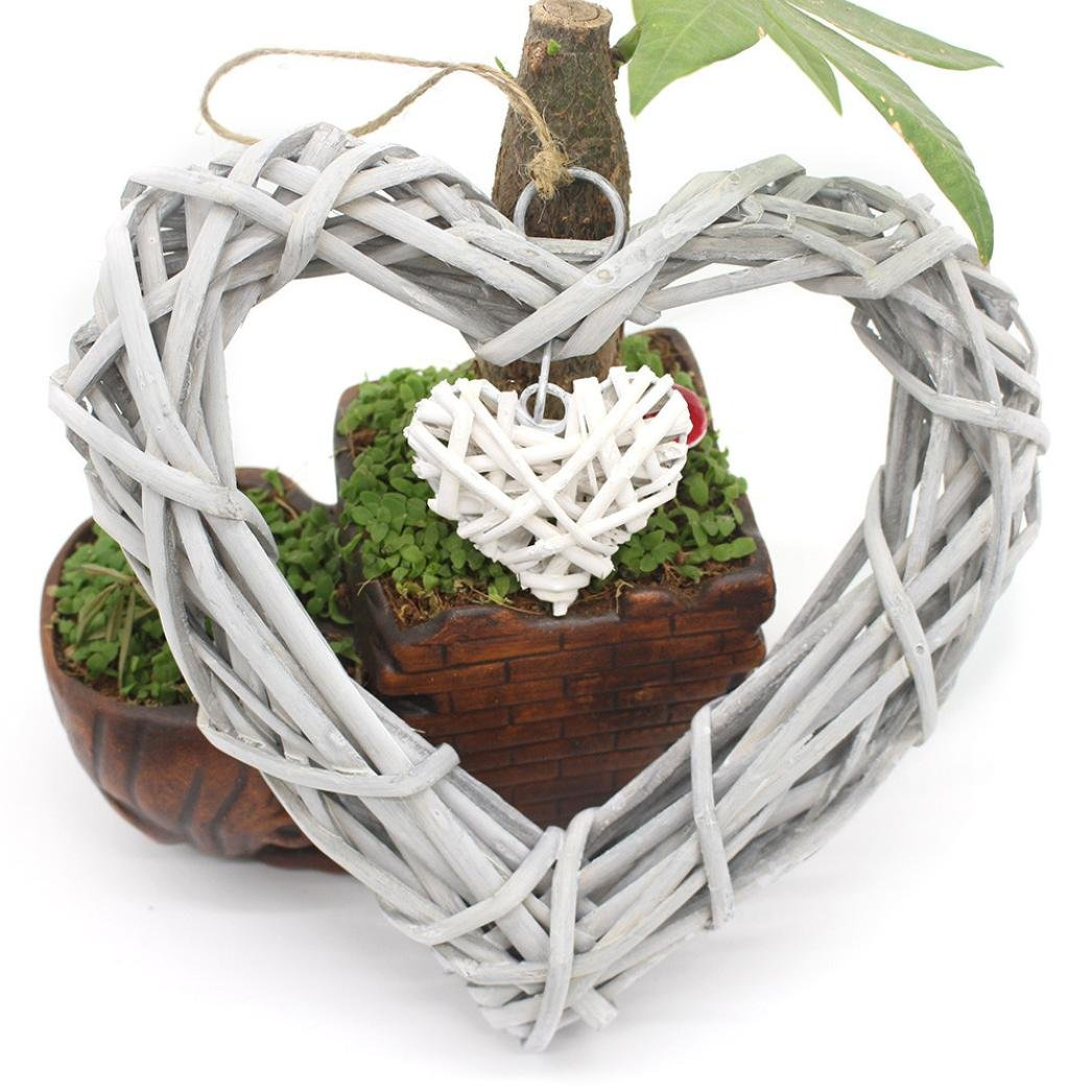 Christmas Wreaths for Front Door,HARRYSTORE Natural Twig Antique Wash Willow Heart Shaped Wreath 7.87x7.87 Inch