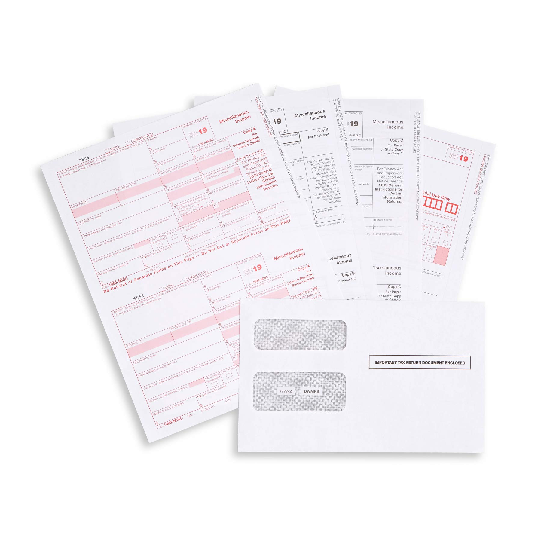 1099 MISC Forms 2019, 4 Part Tax Forms Kit, 50 Vendor Kit of Laser Forms Designed for QuickBooks and Accounting Software, 50 Self Seal Envelopes Included by Blue Summit Supplies