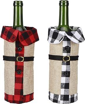 2 pezzi Copri bottiglia di vino in stoffa di Natale Copri bottiglia di vino decorativo Maglione per bicchieri di vino per decorazioni per feste di Natale Ornamento Cena di nozze rustica A