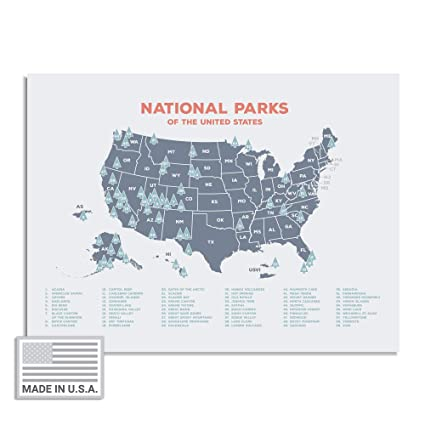 """Amazon.com: Kindred Sol Collective USA National Park Map (24"""" x 17 ..."""