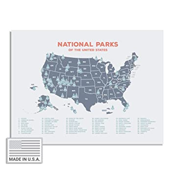 """Kindred Sol Collective USA National Park Map (24"""" x 17"""") - Interactive  Educational National Park Poster of All 59 US National Parks - Made in The  USA ..."""