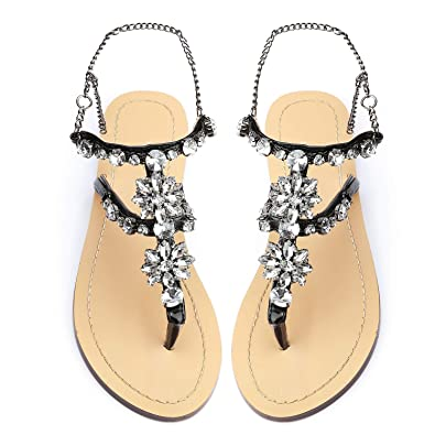 cb8fff6d94e9 Odema Women s Crystal Diamond Rhinestone Bohemia Flip Flops Beach T-Strap  Flat Sandals Black