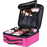 Makeup Cosmetic Storage Case, Professional Make up Train Case Cosmetic Box Portable Travel Artist Storage Bag Brushes Bag Toiletry Organizer Tool with Adjustable Dividers