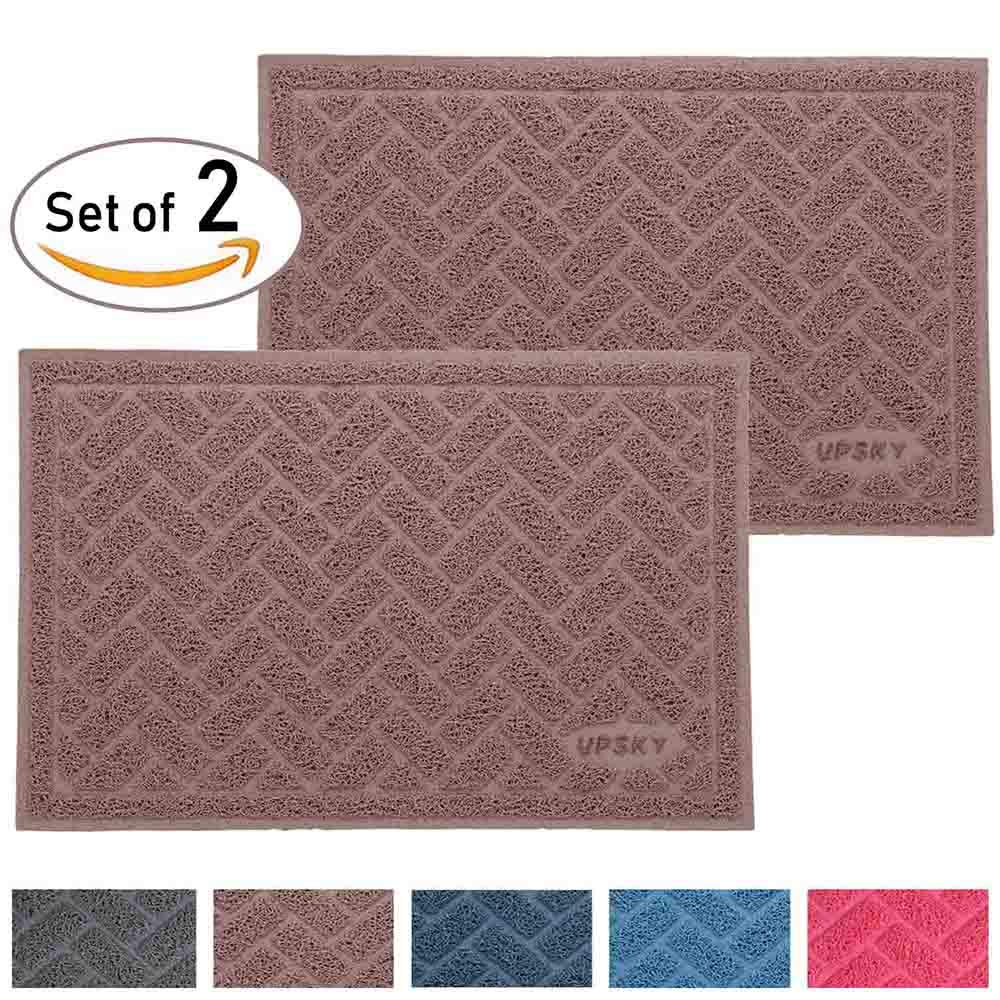 Large Cat Litter Mat (24'' x 16'' x 2 pieces), Premium Traps Litter from Box and Paws, Scatter Control for Litter Box, Soft on Sensitive Kitty Paws, Easy to Clean, Durable - Set of 2 (Champagne)