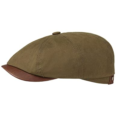 6bfc6dd94b1 Stetson Hats Hatteras Waxed Cotton Newsboy Cap - Olive  Amazon.co.uk ...