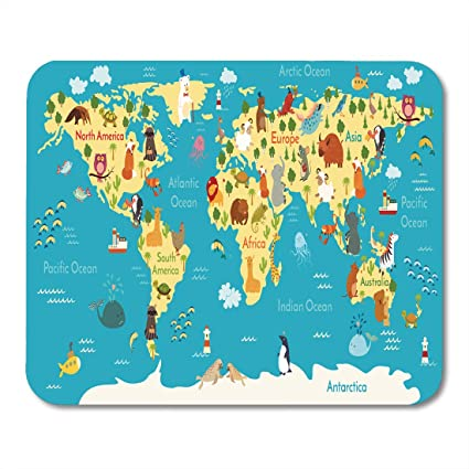 Amazon Com Emvency Mouse Pads Kid Animals World Map Preschool Baby