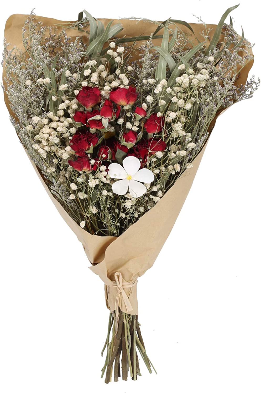 DWANCE Flores Secas Rosas Flores Secas Rojas Naturales Ramos de Flores Secas Hoja Eucalipto Flores Ramas Pequeñas Naturales Decoracion para Casa Bodas