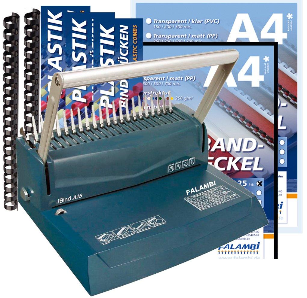 Bindegerät für Plastikbindung, inkl. Starterset 100 Teile (Binderücken & Deckblätter) FALAMBI