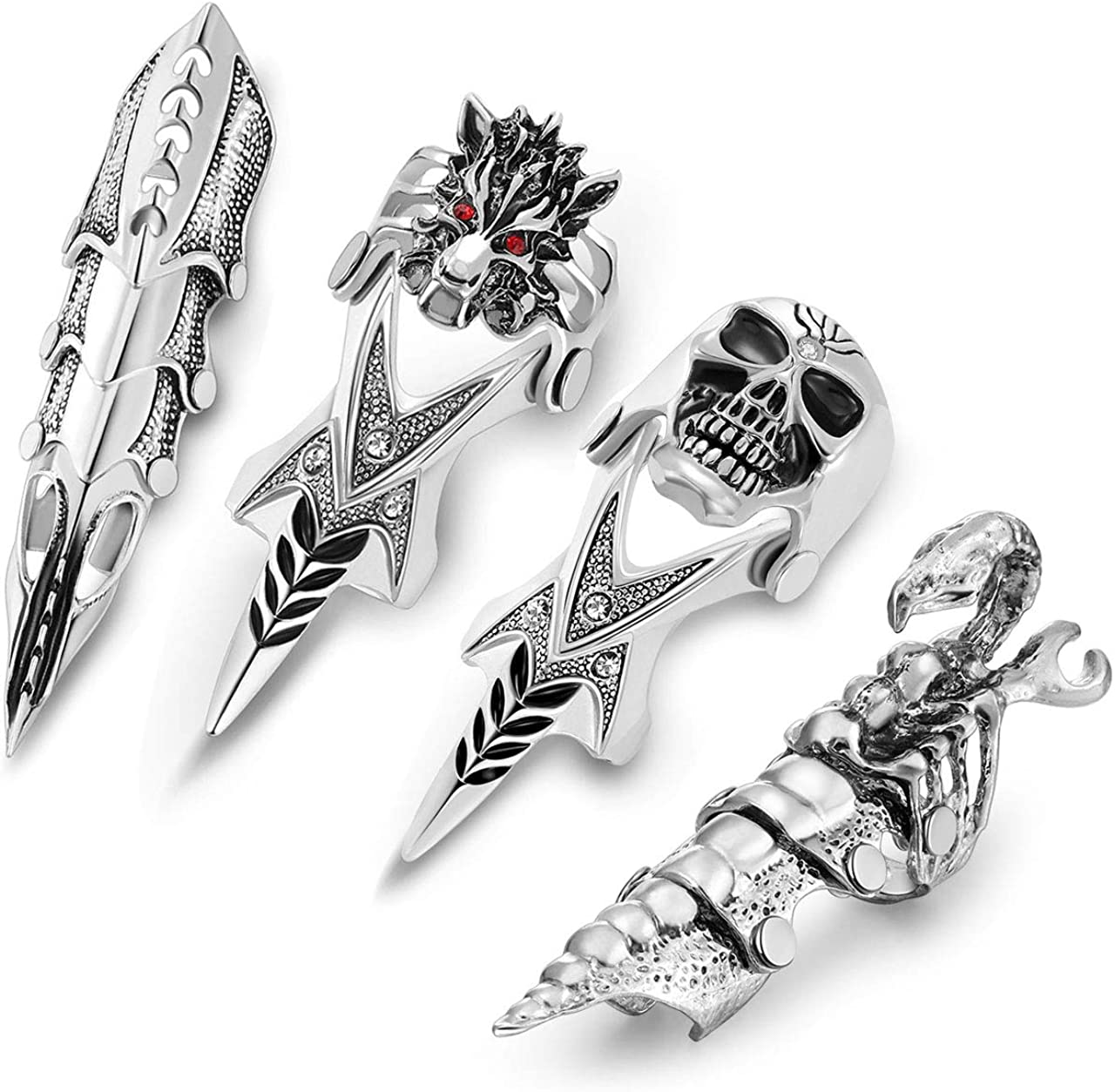 PiercingJ Men's Knuckle Joint Full Finger Double Ring Punk Rock Gothic Hinged Activity Rings Halloween Cosplay Costume Accessories Jewelry