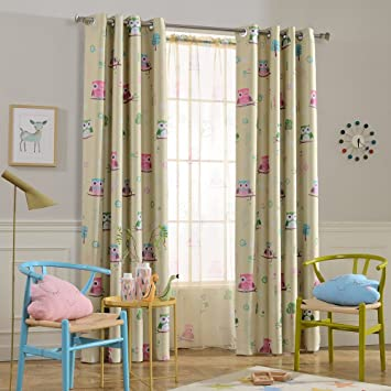 Melodieux Cartoon Trees Room Darkening Rod Pocket Curtains//Drapes for Kids Room 52 Wx84 L 1 Panel