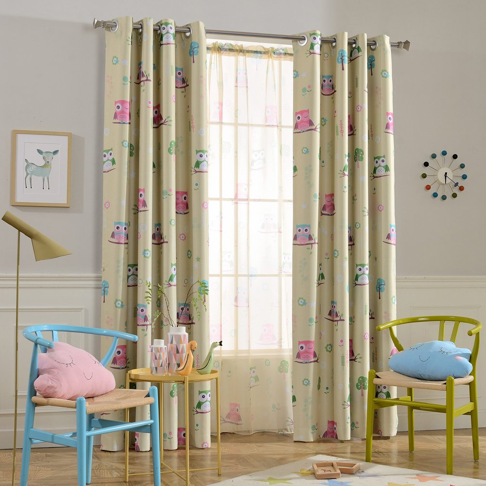 Melodieux Cartoon Owl Room Darkening Blackout Grommet Top Curtains/Drapes for Kids Room, 52'' Wx63 L, Green (1 Panel)
