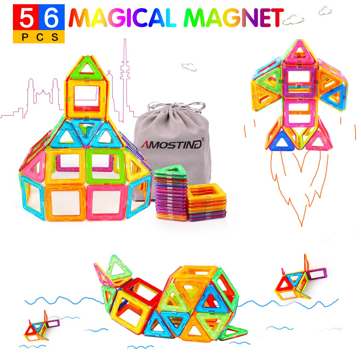 Magnetic Blocks Building Set for Kids, Magnetic Tiles Educational Building Construction Toys for Boys and Girls with Storage Bag - 56pcs