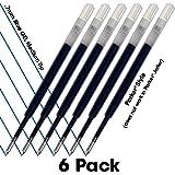 BLUE GEL - Parker Pen Style Refills – 6 Pack = Super Value! Smooth Writing .7mm Medium Gel Tip