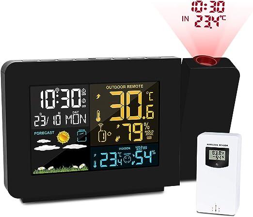 Kalawen Estacion Meteorologica Despertador Proyector con Reloj de ...