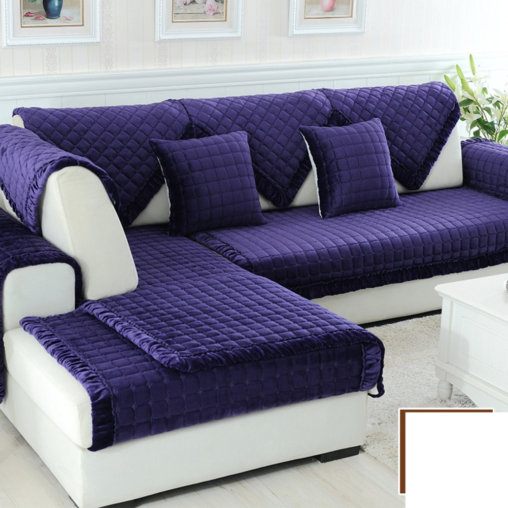 DW&HX winter Thicken Flannel plush Sofa cushions, Cover Anti-skidding Fabric Sofa cover Cushion-Q 90x160cm(35x63inch)