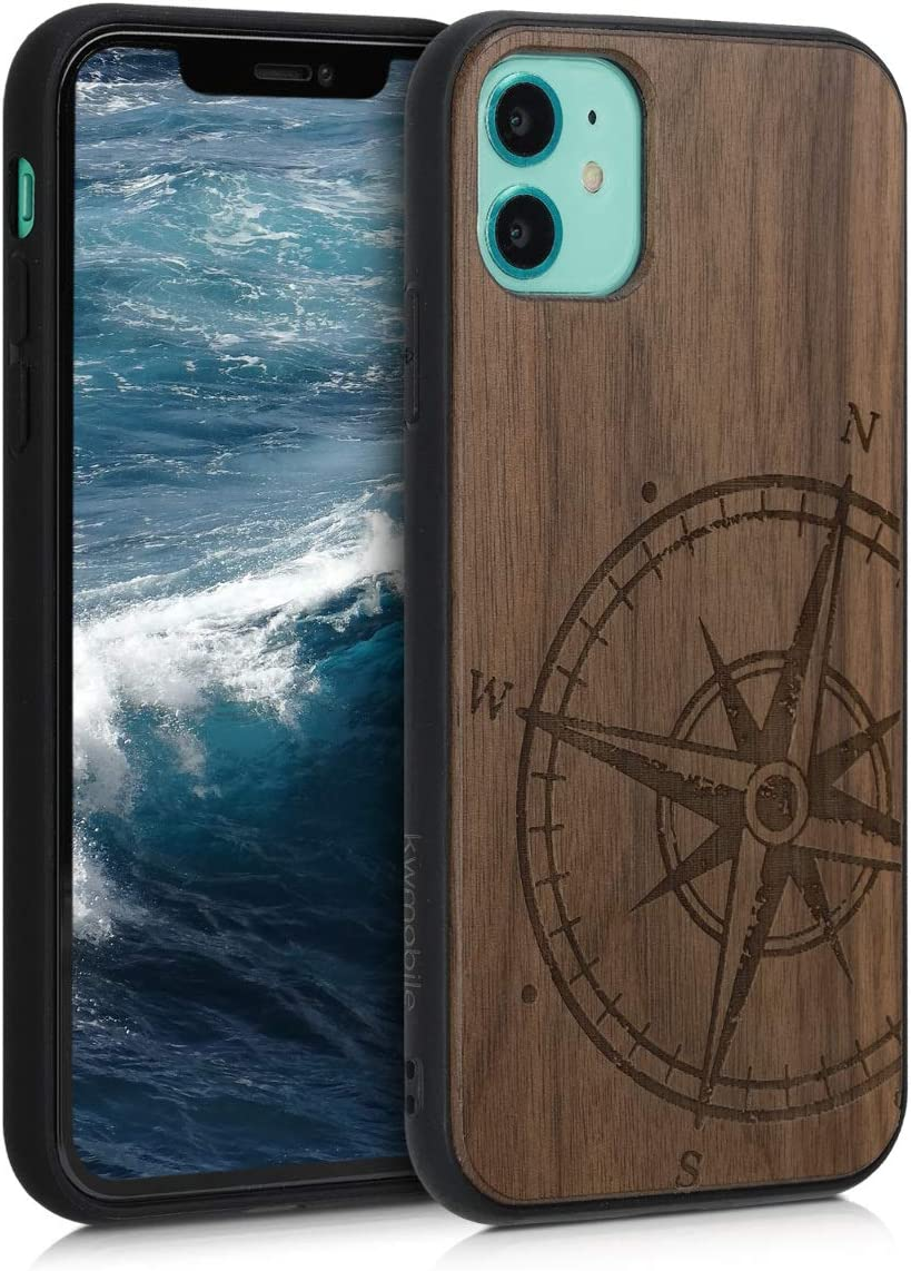 kwmobile Wooden Case Compatible with Apple iPhone 11 - TPU Bumper - Navigational Compass Dark Brown