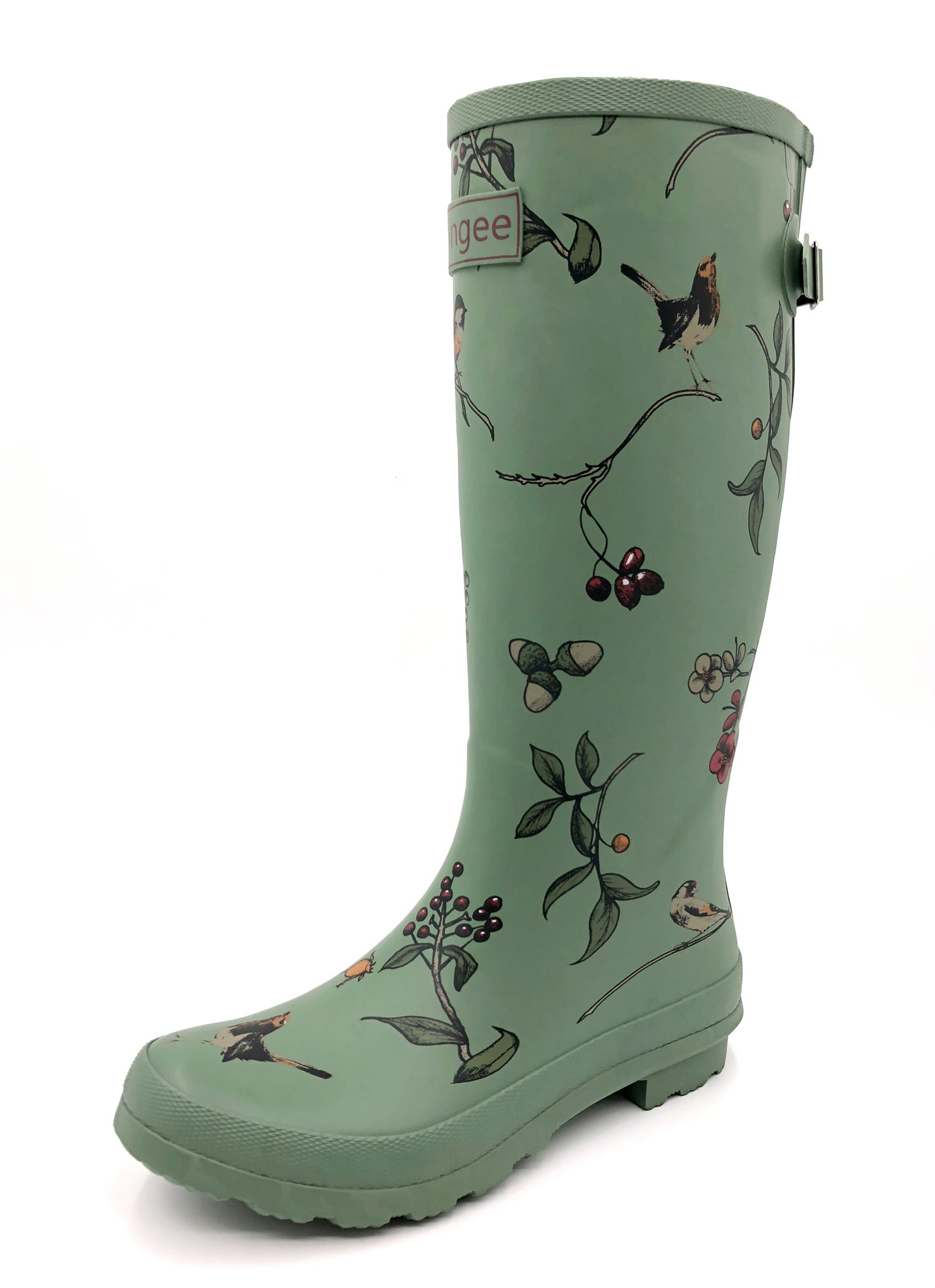 Rongee Bird Tree Printed Tall Rubber Rain Boots for Women with Adjustable Gusset and Oxford Bag Packed (9 B(M) US)