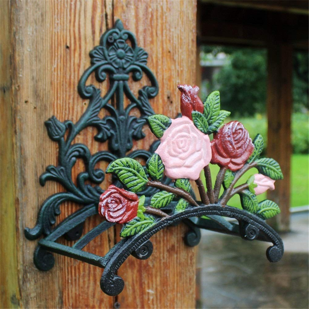 Cast Iron Wall Mount Hose Holder, Rustic Peony Flower Wall Mounted Hose Butler Heavy Duty Metal Water Pipe Holds Rack Wall Hose Hanger Reel for Garden Yard Antique Wall Decorations