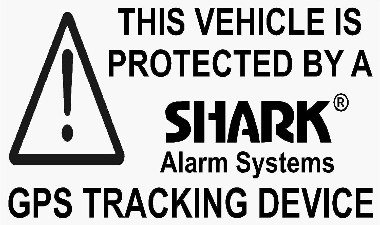 5x Negro Tiburón vehículo GPS Rastreador de alarma alarma de seguridad pegatinas signs-for coche, Van, Camión, Taxi, Mini Cab, Bus, entrenador