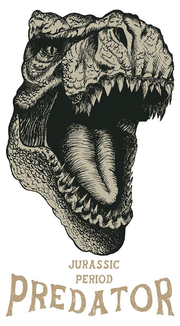 Wandtattoo Kinderzimmer Wandsticker Dinosaurier Kopf cooles Tiermotiv zum Klebe