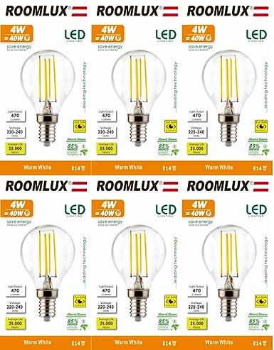 6pcs Roomlux e14 4W P45,470 lúmenes 2700K,bombillas led, bombilla led,