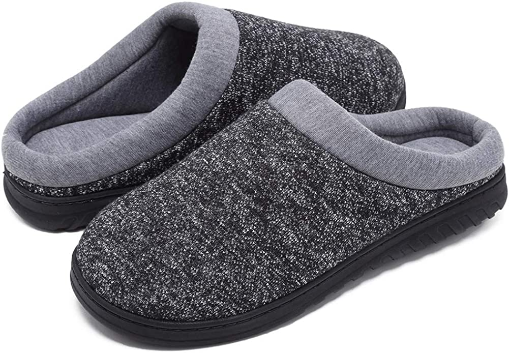 Coolloog Women's Breathable Memory Foam Slippers with Cozy Plush Non-Slip Rubber Sole House Slippers Winter Warm Knitted Cotton Slipper Shoes