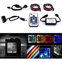 Super Bright Computer LED Strip Kit - Vibrant LED Computer Lighting LED Computer Lights - RGB Multi Color 2pcs 20inch LED Strip Light with Multi Function RF Remote for Desktop PC Computer Mid Tower
