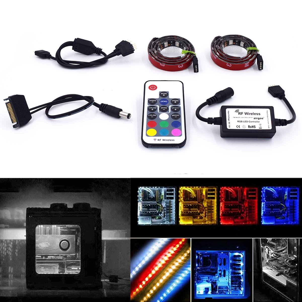 Super Bright Computer Led Strip Kit Vibrant Options Solid Color Leds Lighting Lights Rgb Multi 2pcs 20inch Light With