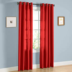 Gorgeous Home 1 Panel Solid Bright RED SEMI Sheer Window Faux Silk Antique Bronze Grommets Curtain Drapes MIRA (84