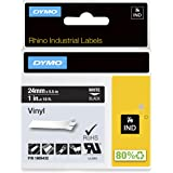 """DYMO Industrial Labels for DYMO Industrial Rhino Label Makers, White on Black, 1"""", 1 Roll (1805432), DYMO Authentic"""