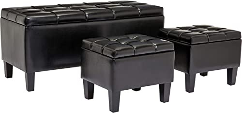 First Hill Bergen 3-Piece Faux-Leather Storage Ottoman Bench Set