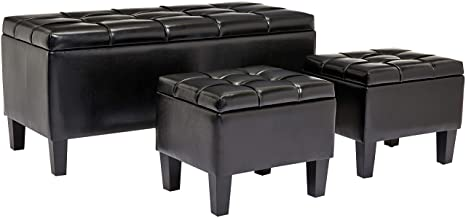 Remarkable First Hill Bergen 3 Piece Faux Leather Storage Ottoman Bench Set Jet Black Ncnpc Chair Design For Home Ncnpcorg