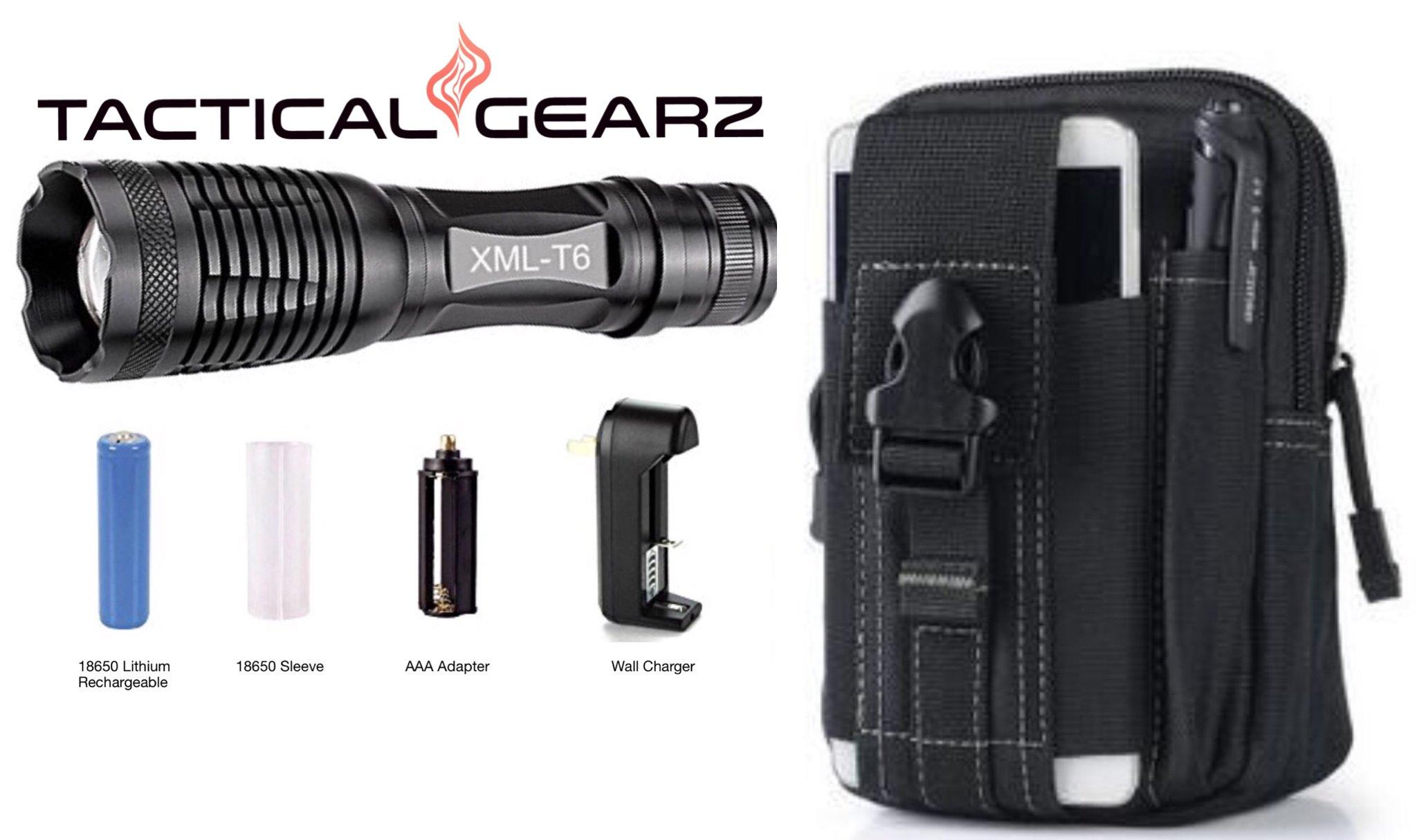 TacticalGearz LED Flashlight Survival Bundle! High Power LED Aluminum Flashlight, Multi-Function Paracord Bracelet, Tactical Day Pack and more! (Black)