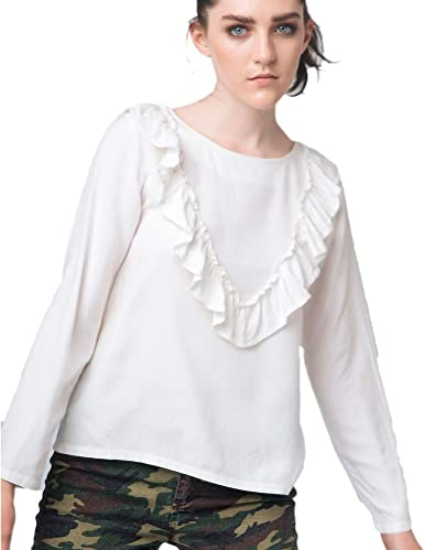 Compañia Fantastica - Blusa Blanca Volante Pecho M-Larga XL, Blanco: Amazon.es: Ropa y accesorios