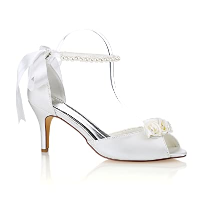 Emily Bridal Silk Wedding Shoes Ivory Peep Toe Bow Pearls Ankle Strap  Bridal Shoes (EU36