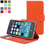 iPhone 5 / 5S Case, Snugg™ - Orange Leather Wallet Case and Stand with Card Slots & Soft Premium Nubuck Fibre Interior - Protective Apple iPhone 5 / 5S Flip Cover - Includes Lifetime Guarantee