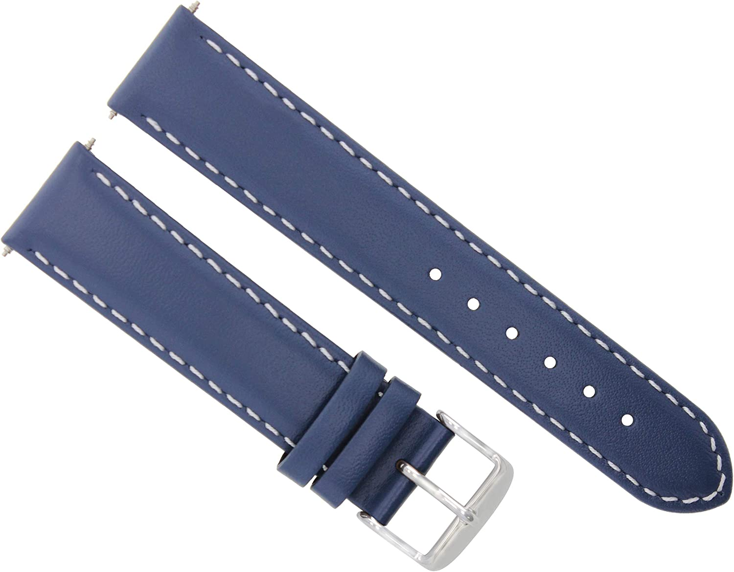 18 – 19 – 20 – 22 – 24 mmレザー腕時計バンドSmooth for Franck Mullerブルー# 4 24mm Blue with white stitching