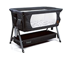 Bawy Baby Bassinet - Premium, 3 in 1, Dark Grey Bassinet for Baby, 2 Side Pockets, Foldable Baby Bedside Sleeper, Portable Baby Crib for Newborn, Co Sleeper, Storage Basket, Incline Mode & Travel Bag