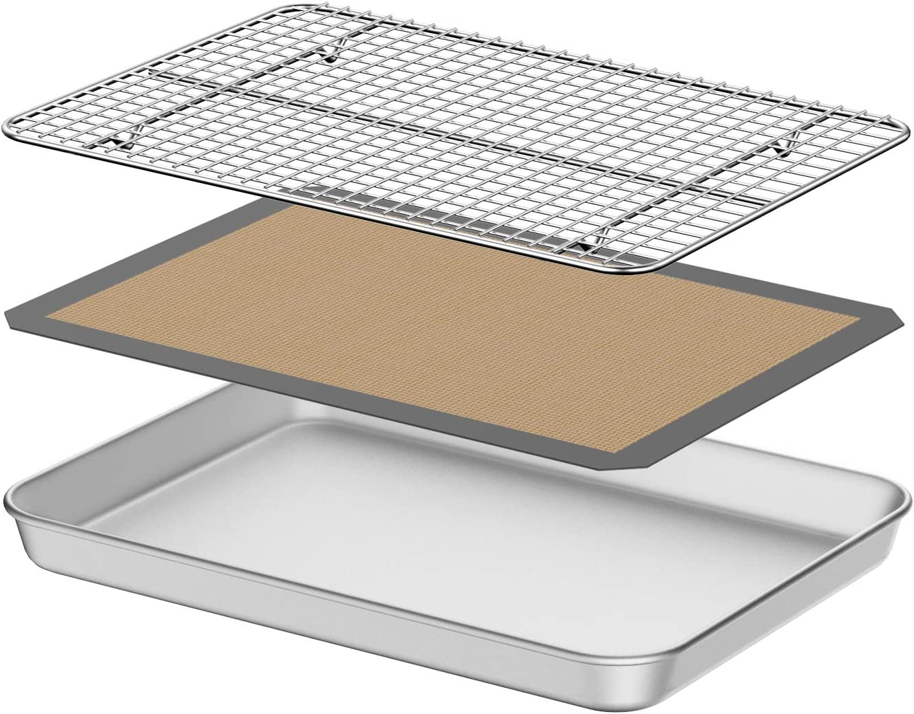 Baking Sheet with Silicone Mat, Umite Chef 10 inch Cookie Sheet Baking Pan, Non Toxic Silicone Baking Mat & Stainless Steel Cooling Rack Heavy Duty & Easy Clean