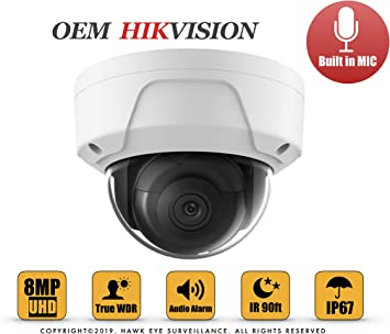 Hikvision Upgradable DS-2CD2185FWD-I 8MP POE WDR IR 4K Dome IP Camera H.265 2.8
